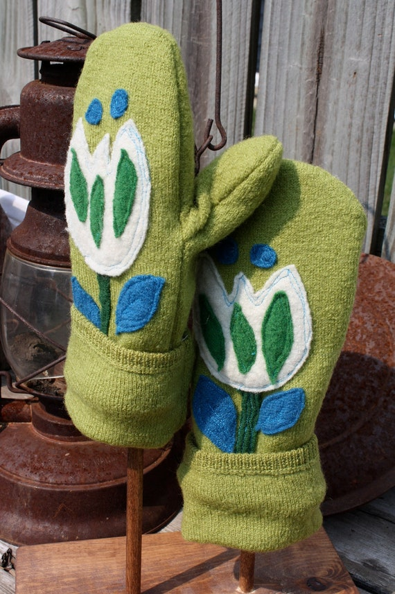 Felted Wool Mittens- Garden Blooms