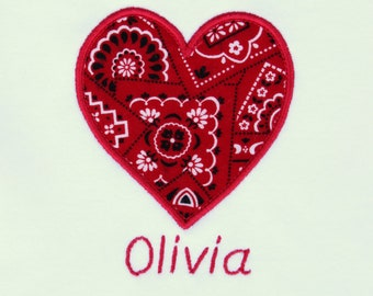 Personalized Bodysuit or Toddler Shirt Bandana Heart Applique for Baby Girls
