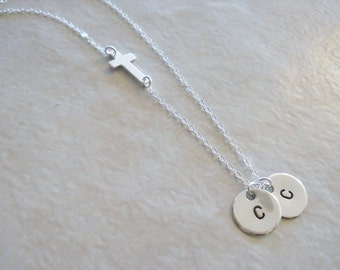 Sideways Cross and Two Hand Stamped Initial Discs Necklace Sterling Silver