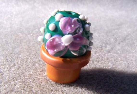 Cactus - Handmade Lampwork Glass Bead