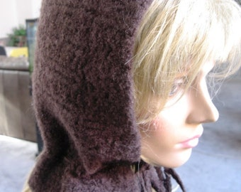 Felted Wool Pixie Hat with Braided ties - Brown Felted Wool - Brown Hooded Hat - Brown Pixie Hood