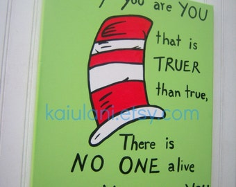 Dr. Seuss Cat In The Hat Kids Wall Art Painting - 16 x 20 canvas - Baby Nursery Decor