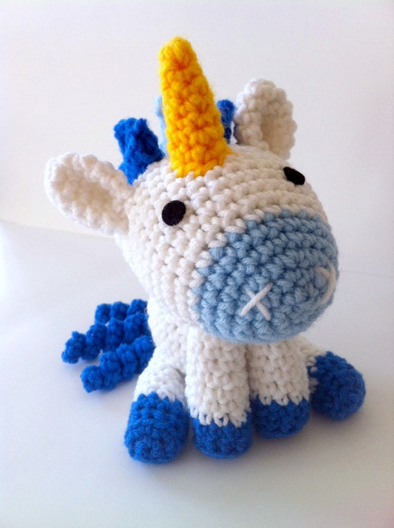 Unicorn Amigurumi Yarn Yard : Blue Unicorn amigurumi plushie doll fantasy by amiamour on ...