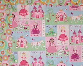 Princess Carriage Baby Blanket Quilt Castles White Horse Soft Cotton Fairies Pink