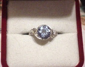 RESERVED For DEB DEEB Light Blue Topaz Jewel Sterling Silver Ring - Size 6