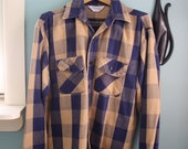 Vintage Mens Buffalo Plaid Soft Flannel Shirt M L 16 1/2