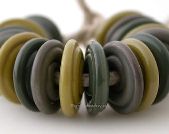 DUSKY GREEN TRIO Wavy Disk Set - wasabi, olive, and copper green - Lampwork Disc Beads - taneres