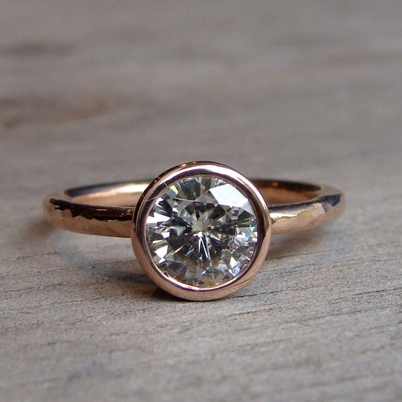 Moissanite Engagement Ring - Recycled 14k Rose Gold, Made to Order - Eco-Friendly Diamond Alternative