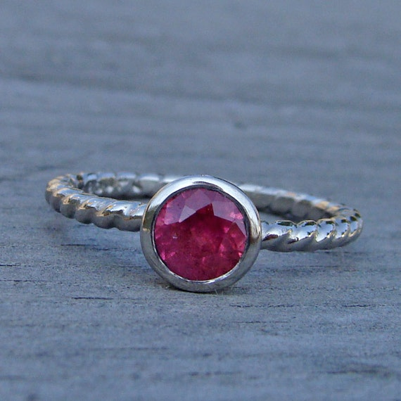 CLEARANCE - Fair Trade Pink Sapphire and Recycled 950 Palladium Ring - Diamond Alternative, size 6.5