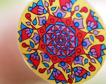 Primary Mandala Suncatcher - Bohemian Home Decor in Yellow Red Blue Purple - Psychedelic Geometric Original Art - Meditation - Boho Style