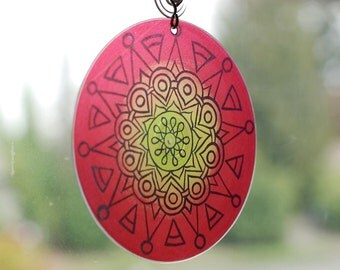 Rasta Mandala Suncatcher - Hippie Bohemian Home Decor - Meditation - Geometric Design in Red Yellow Green