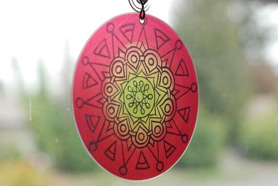 Rasta Mandala Suncatcher - Hippie Bohemian Home Decor - Meditation - Geometric Design in Red Yellow Green