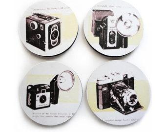 Retro Cameras Coaster photography set of 4