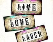 Words Digital Collage Sheet 1x2 inch for dominos Scrapbooking Supplies