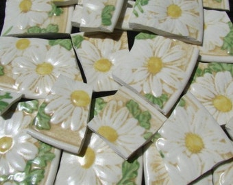 150 pieces Broken Plates Mosaic Tiles PoppyTrail Sculptured Daisy Yellow White Plate Pieces 150