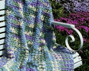 Hand Crocheted Decorative Afghan Throw in Beautiful Spring Verigated Colors