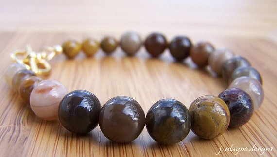 Wooden Agate Bracelet. Brown Bracelet. Brown Agate. Earthy Bracelet. Multicolor Bracelet. Chalcedony Bracelet