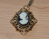 Black Cameo Brass Necklace