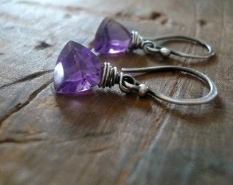 February Earrings - Handmade. Amethyst. Oxidized sterling and Fine silver dangle birthstone Earrings