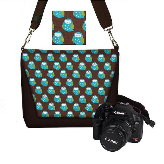 SALE Digital SLR Camera Bag Dslr Camera Bag Purse Womens Camera Bag Case Zipper Padded   - Deluxe Kokka Cute Owl blue brown green (RTS)