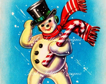 Christmas Candy Cane Snowman Vintage Greetings Card Digital Download Printable Images (264)