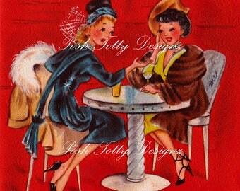 Best Friends Vintage Greetings Card Digital Download Printable Image (315)