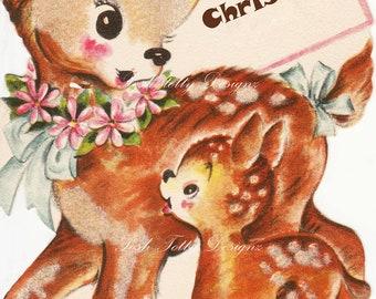 1940s The Deerest of Does Vintage Greetings Card Digital Download Printable Images (319)