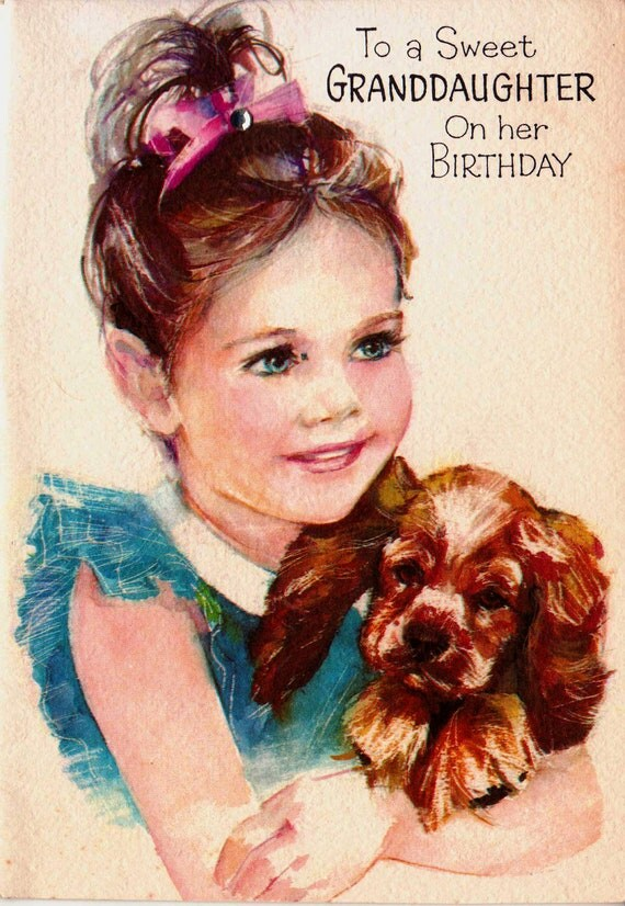 Vintage To A Sweet Granddaughter On Her Birthday Greetings Card (B2)