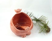 French salt pig with spoon in peach, salt keeper, Handmade ceramic salt holder, Cellar  or Keeper - dish for bath salts