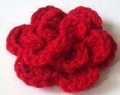 Layered Flower Crochet Applique, Red Crochet Flower Embellishment, Three Layered Crochet Flower, Crochet Flower Motif On Etsy