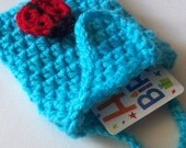 Peacock Crochet Gift Card Bag with Ladybug On Etsy