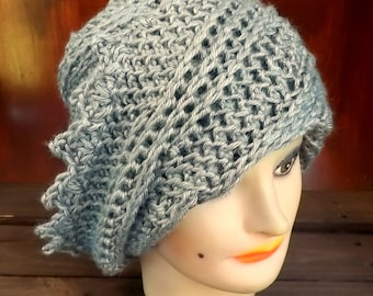 Womens Crochet Hat,  Womens Hat,  Steampunk Hat,  Crochet Beanie Hat,  Gray Hat,  Gray Crochet Hat,  Lauren Beanie Hat for Women