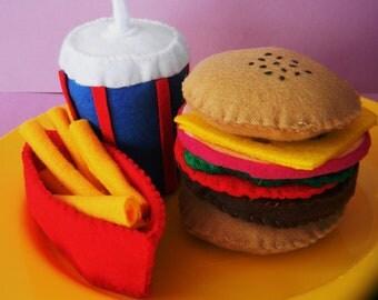 felt veggie burger set childrens play food
