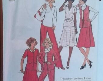 Simplicity Pattern 8018 Vintage Skirt Pants Top Jacket Size 10-12 Uncut