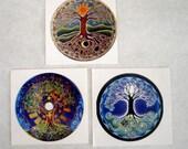 Tree of Life Mandala Stickers - Series of 3 -Original Hand drawn Illuminated  Mandalas - Decals Sticker- 3 inch
