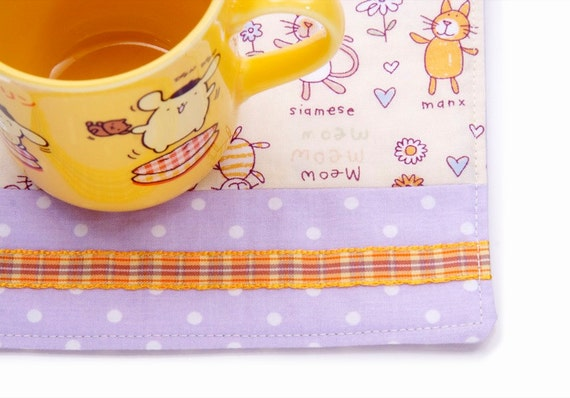 Kitty Cat Drink Coaster,  Large Purple and Orange Polka Dot