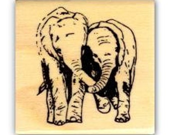 ELEPHANT FRIENDS mounted African rubber stamp, small No.17