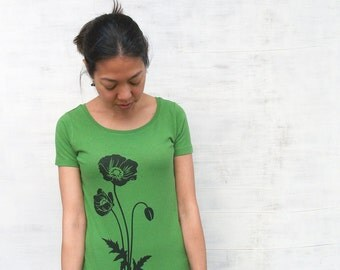 Womens Graphic Tee- Poppy T Shirt- Organic Cotton T Shirt- Green T Shirt - Womens Tee Shirt - Screen Printed Shirt - Womens Organic Clothing