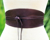 REVERSIBLE Leather Obi Wrap Sash Belt - Plum Purple Pearl finish lambskin - XS S M L XL Plus & Petite Size - Custom Fabric Choice