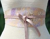 Leather & Fabric SUNRISE obi wide wrap cinch sash corset - REVERSIBLE Belt - gold pattern custom leather choice - size XS S