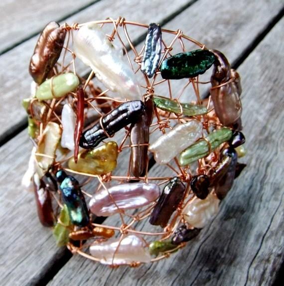 Wonder Woman Goddess Cuff Bracelet Stick Pearl Copper Garnet Champage Bronze