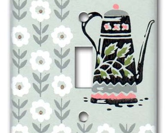 Charming Coffee Pot 1950's Vintage Wallpaper Switch Plate