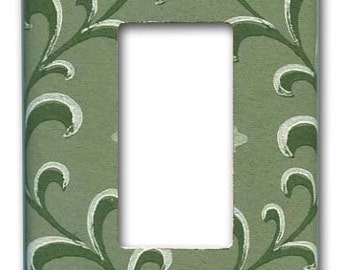 Slate Green Vine 1950's Vintage Wallpaper Decora Switch Plate