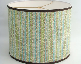 Vintage Wallpaper Drum Shade 1960's Mod Stripe