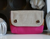 small pouch -  hot pink and slate gray
