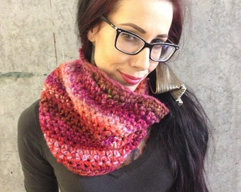 Recycled pink magenta fuchsia ombre striped crochet cowl - one of a kind  ecofriendly