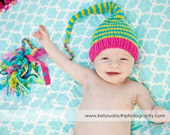 Newborn Knit Baby Girl Hat BaBY PHoTO PRoP Rockin Girly Stocking Cap LoNG Tail TaSSeL Hot Pink Lime Turquoise Stripe CoMiNG HoME PiXiE ToQUE