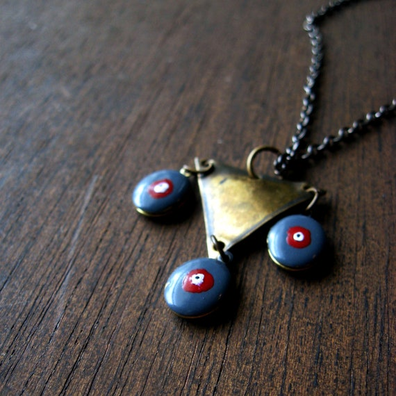 enamel evil eye locket pendant triangle necklace brass gunmetal vintage