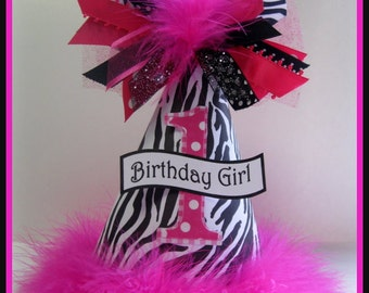 Personalized Hot Pink and Zebra Birthday Party Hat