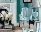 Art Print Living Room French Blue Interior - Blue Stripes by David Lloyd